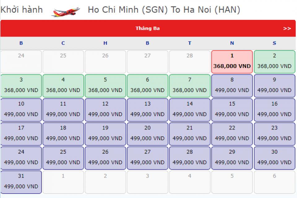 Bay Sài Gòn - Hà Nội tháng 3/2018 giá chỉ từ 368.OOOVNĐ